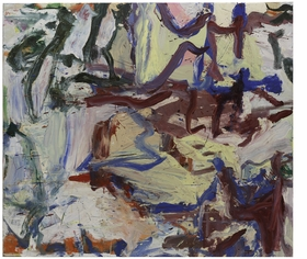 "Featured image, Willem De Kooning's <i>...Whose Name Was Writ in Water</i> (1975), from the collection of the Solomon R. Guggenheim Collection, is reproduced from The Museum of Modern Art's monumental career survey, <a href=""http://www.artbook.com/9780870707971.html"">De Kooning: A Retrospective</a>. Of the painting, Jennifer Field writes, ""In <i>...Whose Name Was Writ in Water</i>, the mauve brushstrokes at center right have the waxiness of encaustic. They hover over a thick, puckered passage of butter yellow—the result of de Kooning's practice of mixing his paints with safflower oil, water, and either kerosene or another solvent, which he would whip into a 'fluffy consistency.' De Kooning would have learned about the effects of mixing water-and oil-based mediums as a housepainter. This combination kept the paint wet and pliable. When it dried, it created a roiled surface of wrinkled and bubbled areas, later prompting the philosopher Richard Wollheim to liken these effects to the 'infantile experiences of sucking, touching, biting, excreting retaining, smearing, sniffing, swallowing, gurgling, stroking, wetting.'"""