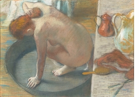 "Featured image, Edgar Degas' delicate pastel on paper is <i>The Tub</i>, 1886, from the Musée d'Orsay. It is reproduced from <a href=""http://www.artbook.com/9780878467730.html"">Degas and the Nude</a>."
