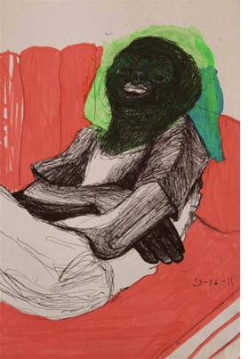 """Ndombundira Chokwadi Chandinoziva (I embrace the Truth I know), by Virginia Chihota (2011) is reproduced from <I>Drawing People</I>."
