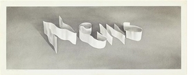 """News"" (1970) is reproduced from 'Ed Ruscha: Ribbon Words.'"