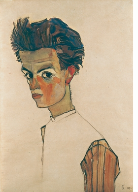 'Self-portrait with Striped Shirt' is reproduced from 'Egon Schiele: Masterpieces from the Leopold Museum.