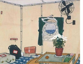 """Featured image, """"Cabin with Porthole,"""" is an undated watercolor and gouache work on paper, reproduced from <I>Elizabeth Bishop: Objects & Apparitions</I>."""