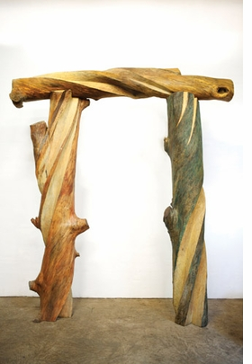 """Children's Arch"" (1991), gum, 11.5 x 9 x 2.5 feet, is reproduced from <I>Emilie Brzezinksi: The Lure of the Forest</I>."