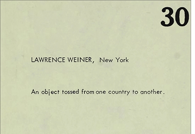Fantastic Architecture: Lawrence Weiner, An Object Tossed from One Country to Another