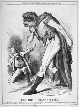 Featured image, an 1882 Joseph Swain political cartoon for <I>Punch</I>, featuring Nationalist Charles Parnell cowering before a violent, simian Irishman, is reproduced from 'Frankenstein: The First Two Hundred Years.'