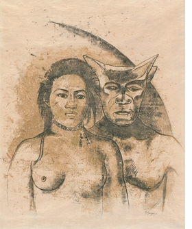 """Tahitian Woman with Evil Spirit,"" recto. c. 1900, is reproduced from <I>Gauguin: Metamorphoses</I>."