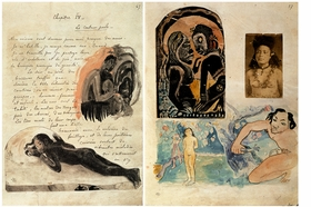 "Featured image, reproduced from <a href=""9780878466665.html"">Gauguin Tahiti</a>, is a manuscript page from <I>Noa Noa</I>, illustrated with a fragment of the woodcut ""Ta Atua"" (The Gods), a photograph of a Samoan woman, and a watercolor taken from ancient Culte mahorie representing Hiro, the god of thieves; in it, he rescues a virgin trapped in an enchanted forest by single-handedly ripping out the trees that hold her captive."