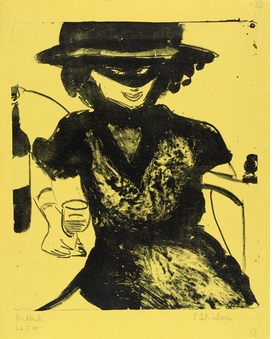 "Featured image, ""Gerty with Mask and Wineglass"" (1910), by Ernst Ludwig Kirchner, is reproduced from <a href=""9780870707957.html"">German Expressionism: The Graphic Impulse</a>."