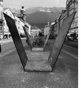 "Featured image, ""Untitled"" (1991) installed in Innsbruck, 1991, is reproduced from <I>Gunter Frentzel</I>."