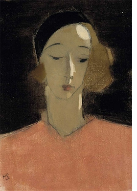 "Helene Schjerfbeck, ""Girl in Beret"", 1935, is reproduced from <i>Helene Schjerfbeck</i>."