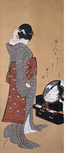 "Hokusai, ""Woman Looking at Herself in a Mirror"", ca. 1805, is reproduced from <i>Hokusai</i>."