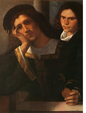 Attributed to Giorgione. <i>Portrait of a Young Man  and His Servant</i>. Oil on canvas, 80 × 67.5 cm. Reproduced from <i>In the Age of Giorgione</i>, Royal Academy of Art.