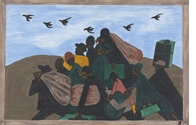 "Featured image is panel 3 of the <I>Migration Series.</I> It is captioned ""In every town Negroes were leaving by the hundreds to go North and enter into Northern industry."" 1940-41. Reproduced from 'Jacob Lawrence: The Migration Series.'"