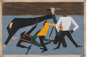 "Jacob Lawrence: The Migration Series, Panel 52 (""race riots in East St. Louis""), 1940-1941"