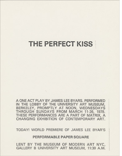 James Lee Byars: 1/2 an Autobiography, Sourcebook