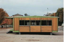 Jean Prouve&#769;, Ferembal house, 1948 Adaptation Jean Nouvel Jardin des Tuileries, Paris, 2010, is reproduced from <I>Jean Prouvé: Ferembal Demountable House</I>.