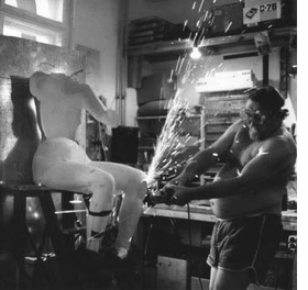 """Featured image, of Kienholz """"performing abrasive cutting,"""" is reproduced from <I>Kienholz: Signs of the Time</I>."""