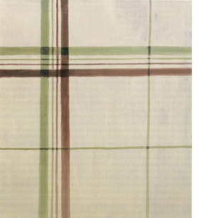 """Like a ragged piece of cloth hung on the wall to dry, <i>Towel</i> can be understood as a humorous riposte to the history and reception of modernist painting and art criticism. The theories of the critic Clement Greenberg, who argued for flatness and self-referentiality as modernist painting's highest aim, seem to be a particular target of Tuymans' wry parody. Towel, if it were actually woven cloth, instead of a quasi-realist oil painting, would indeed integrate line, color and surface in a single plane, serving as a kind of readymade modernist canvas. At the same time, the worn appearance of <i>Towel</i> cynically suggests that the utopian aesthetic of modernist painting such as Mondrian's, in spite of its proponents' socially radical utopian aims, has found its end in banal domestic objects, becoming entrenched in daily life as an outdated modernist-kitsch style.""<p>Lanka Tattersall's description of Luc Tuymans' painting <i>Towel</i>, featured here and excerpted from <a href=""http://www.artbook.com/9781933045986.html"">Luc Tuymans</a>"