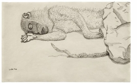 "Featured image is Lucian Freud's 1944 ink drawing, ""Dead Monkey."" In his catalog essay, Mark Rosenthal writes, ""With Freud's exquisite depictions of dead animals, he assumed a kind of maudlin approach to 'convulsive beauty.'"""