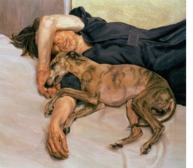 "<a href=""catalog--art--monographs--freud--lucian.html"">Lucian Freud</a>, whose 1985-86 ""Double Portrait"" is featured above, died on Wednesday, July 20, at the age of 88. Considered by many the greatest figurative painter of the twentieth century, Freud, a grandson of Sigmund Freud, ""was a bohemian of the old school,"" according to <a href="" http://www.nytimes.com/2011/07/22/arts/lucian-freud-adept-portraiture-artist-dies-at-88.html"" target='new'>The New York Times'</a> William Grimes. ""He set up his studios in squalid neighborhoods, developed a Byronic reputation as a rake and gambled recklessly ('Debt stimulates me,' he once said)."" His paintings, often of ""friends and intimates, splayed nude in his studio… put the pictorial language of traditional European painting in the service of an anti-romantic, confrontational style of portraiture that stripped bare the sitter's social façade… His female subjects in particular seemed not just nude but obtrusively naked. Mr. Freud pushed this effect so far, [art critic John] Russell once noted, 'that we sometimes wonder if we have any right to be there.' By contrast, his horses and dogs, like his whippets Pluto and Eli, were evoked with tender solicitude."" Featured image is reproduced from Hirmer Verlag's <a href=""9783777426914.html"">Lucian Freud: The Studio</a>."