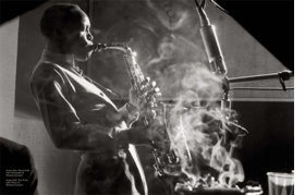 Herman Leonard's 1953 photograph of Sonny Stitt playing in New York is reproduced from <I>Matador: Clubs</I>.