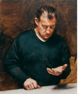 """""""A snapshot in time is frozen in this triangle of light, the state of which can no longer be recovered by what can be labeled, but is an event that exists solely in the location thereof: in the painting.""""<p>Hans D. Christ, excerpted from <i>Man Looking Down at His Hand</i> in <a href=""""9783775728355.html"""">Michaël Borremans: Eating the Beard</a>. Featured image, Michaël Borremans' <i>Man Looking Down at His Hand</i>, 2007, is reproduced from <a href=""""9783775728355.html"""">Michaël Borremans: Eating the Beard</a>."""