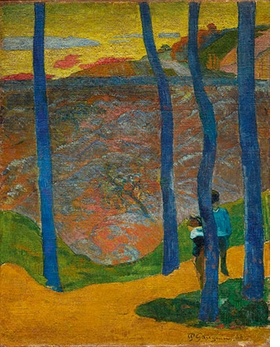 "Paul Gauguin's ""Blue Trees, 'Your Turn Will Come, My Beauty!'"" (1888) is reproduced from <I>Monet, Gauguin, Van Gogh … Japanese Inspirations</I>."