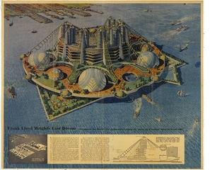 Never Built New York, Frank Lloyd Wright Key Plan for Ellis Island