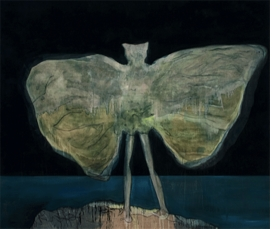 """Man Dressed as Bat (Night)"" (2008) is reproduced from <I>Peter Doig</I>."