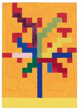 """""""Tree,"""" (1977) is reproduced from 'Peter Halley: Boats Crosses Trees Figures 1977–78.'"""