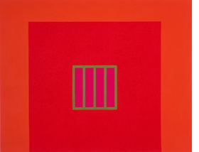 """Day-Glo Prison"" (1982) is reproduced from 'Peter Halley: The Complete 1980s Paintings.'"