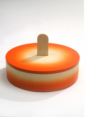 "Featured image, of ""Scatola 9,"" a limited edition lacquered wood box for the Oggetti Lenti collection, 2005, is reproduced from <I>Pierre Carpin.</I>"