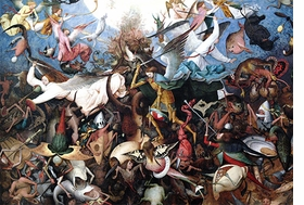 "Pieter Bruegel, ""Fall of the Rebel Angels"", is reproduced from <i> Pieter Bruegel The Elder: Fall of the Rebel Angels</i>."