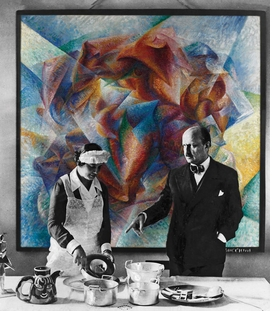 "Above: A photographic rendering of Filippo Tommaso Marinetti in his home in 1934, in front of Umberto Boccioni's ""Dinamismo di un footballer"" (1913). This is one of a series of images that place artworks exhibited at the Fondazione Prada as color renderings into historical black-and-white photographs, in order to illustrate the research methodology of the show."