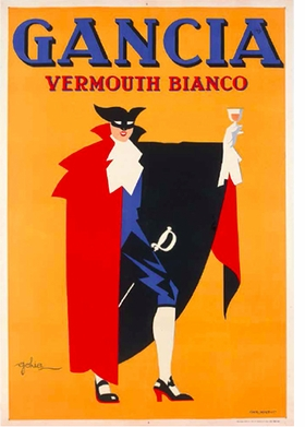 "Golia (Eugenio Colmo), ""Vermouth Bianco Gancia"", 1936, is reproduced from <i>Posters: Eat & Drink in Italian Advertising</i>."