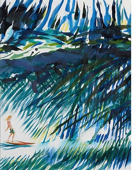 "Raymond Pettibon, ""No Title (This left was)"", 2012, is reproduced from <i>Raymond Pettibon: Surfers 1985-2014</i>."