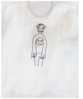 """His doodle of a boy with smiley face, branded as the 'Hippie Punk,' jumps from one painting to the next. The aphorism 'Hippie Punk' combines his own contradictory verbiage. The artist gives way to dual generations and ideologies--from paintings covered in flower power, to raw canvases aggressively pulled, splattered and Punk."" <p>Jeanne Greenberg, excerpted from <i>Richard Prince: Hippie Punk</i> in <a href=""9783037642139.html"">Richard Prince: T-Shirt Paintings</a>. Featured image is reproduced from <a href=""9783037642139.html"">Richard Prince: T-Shirt Paintings</a>."