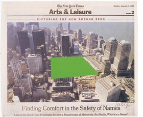 "Featured image, Ellsworth Kelly's ""Ground Zero"" (2003), is reproduced from MoMA PS1's <I>September 11</I>. The original image is a collage on paper (newsprint). Sheet (irregular): 11 9/16 x 13 1/2 inches (29.4 x 34.3 cm). Whitney Museum of American Art, New York. Gift of an anonymous donor. (c) Ellsworth Kelly; courtesy Whitney Museum of American Art, New York; photo: David Allison."