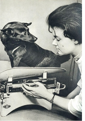 Featured image, of a routine weight check for Chernushka (1958), is reproduced from <I>Soviet Space Dogs</I>.