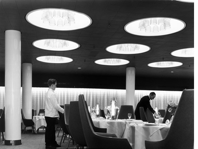 The SAS Royal Hotel in Copenhagen, designed by Arne Jacobson. 1960 photograph by Aage Struwing.