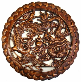 Carved chinese wood plaque dragon phoenix prosperity for Wood in chinese