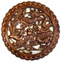 Carved Chinese Wood Plaque - Dragon & Phoenix Symbols #1
