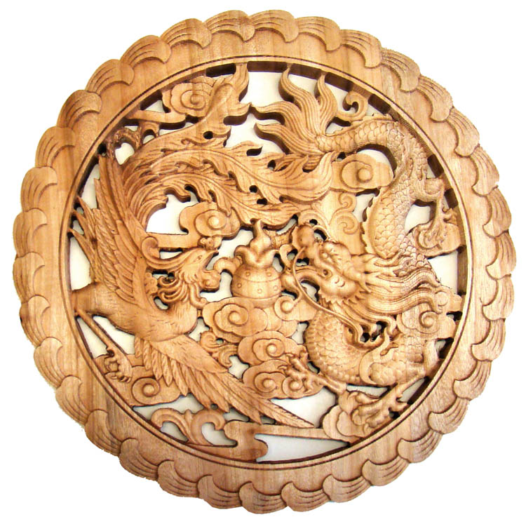 Carved Chinese Wood Plaque - Dragon & Phoenix Symbols, Chinese Wood ...