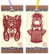 Chinese Bookmarks with Traditional Chinese Paper Cuts - Chinese Opera Masks (Set of 2) #22