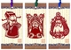 Chinese Bookmarks with Traditional Chinese Paper Cuts - Chinese Opera Masks (Set of 3) #23