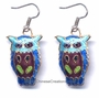 Chinese Cloisonne Earrings (Pair) - Owl #55