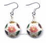 Chinese Cloisonne Earrings (Pair) - Flower #53