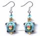Chinese Cloisonne Earrings (Pair) - Turtle / Longevity #54