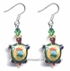 Chinese Cloisonne Earrings (Pair) - Turtle / Longevity #59
