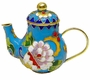 Chinese Cloisonne Teapot - Flowers #16